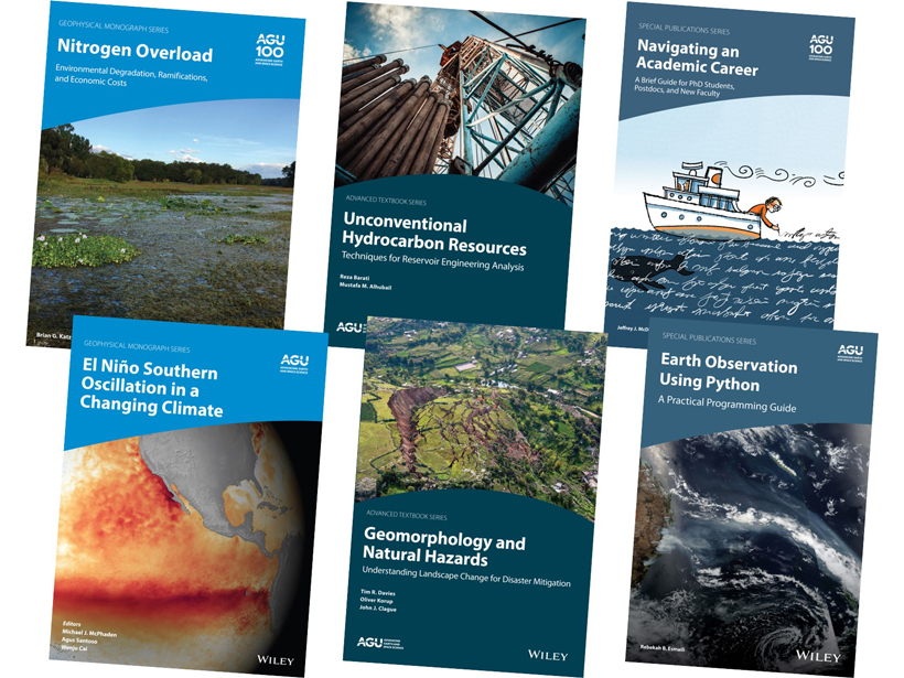 A selection of book covers from AGU's three active series