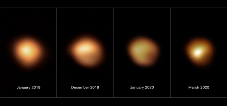 Arranged horizontally are four high-resolution images of the supergiant star Betelgeuse from January 2019 through March 2020. The star appears orange and yellow on a black background. It is brightest in the leftmost image, and the lower right area of the star gets dimmer in sequential images.