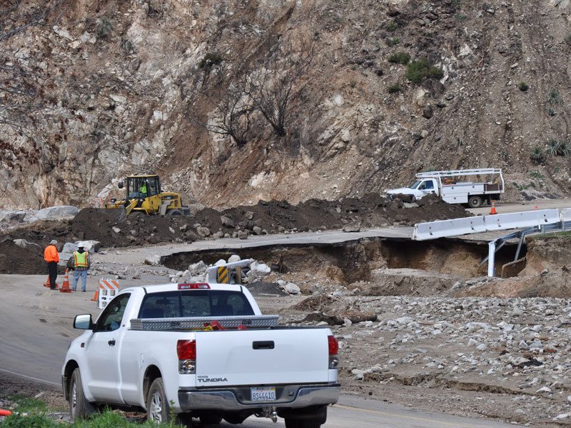 Debris flows during the largest rainstorm following the 2009 Station Fire in California.