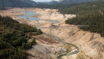 Aerial view of Lake Oroville near Enterprise Bridge in California on 23 October 2015 showing low water levels