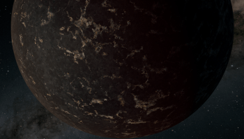 An artist's representation of an exoplanet with a dark surface