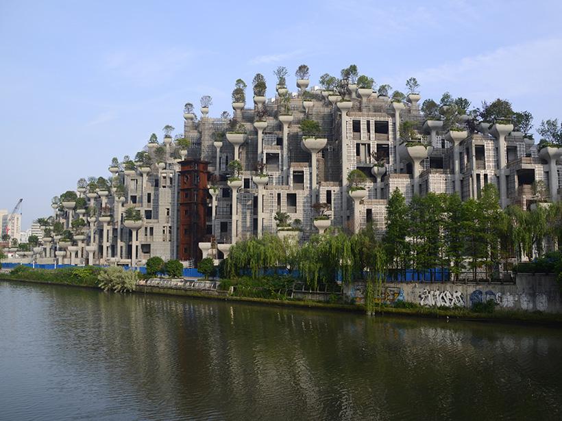 Facade of 1000 Trees building facing the river