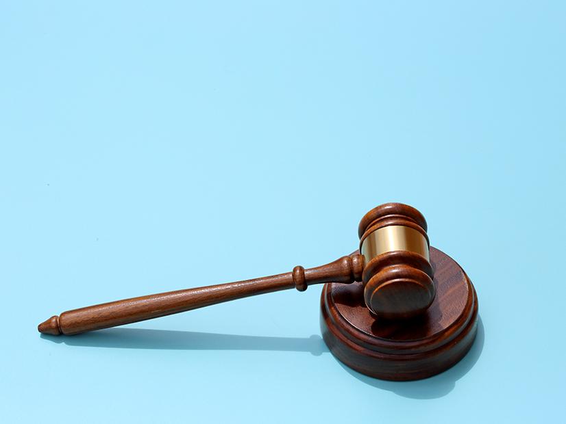 A dark wooden gavel rests on a sound block on a light blue background.