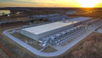 Aerial image of a Google data center