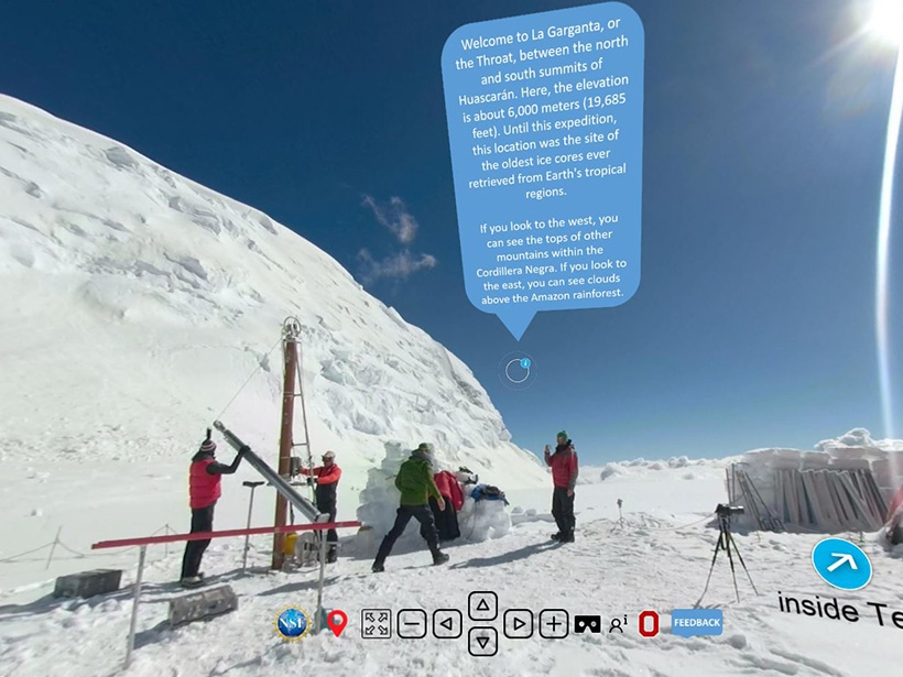 A screen capture from a virtual field tour showing scientists preparing to drill an ice core on Mount Huascarán in Peru, along with directional controls