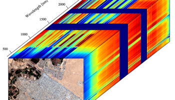 Data cube acquired via a remote imaging spectrometer, with two spatial dimensions and one spectral dimension