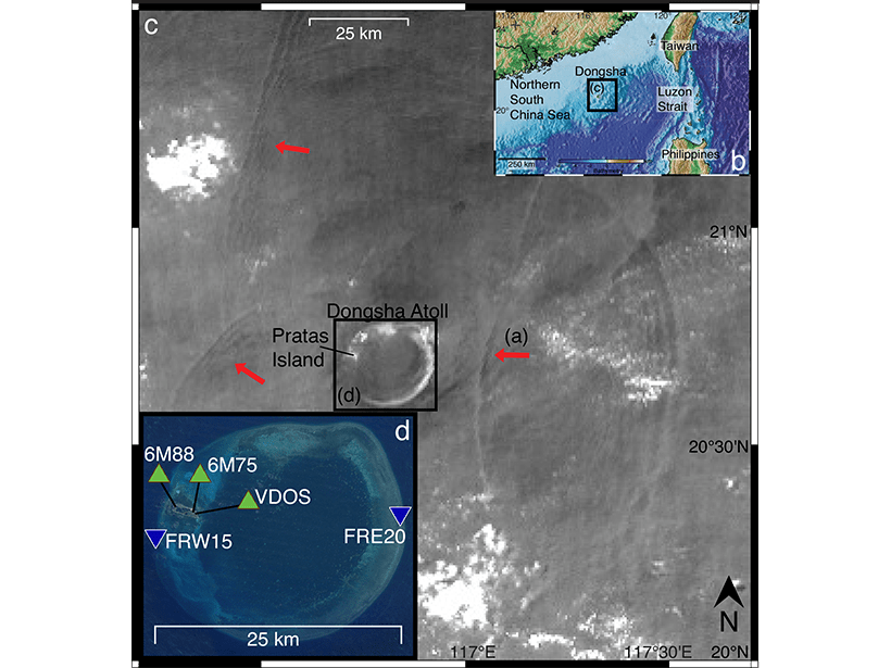 Sea surface reflection from satellite images showing solitary wave fronts