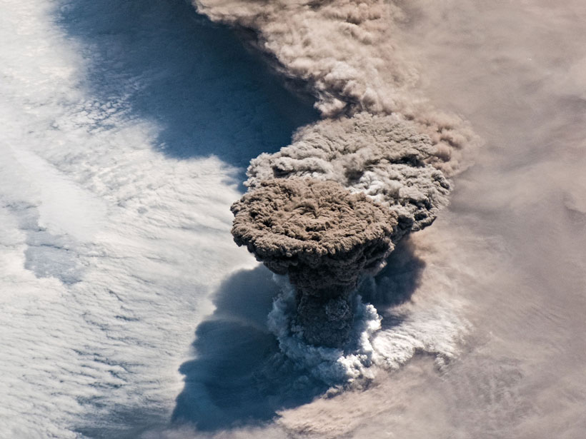 View from near-Earth orbit of a volcanic eruption plume rising into the atmosphere