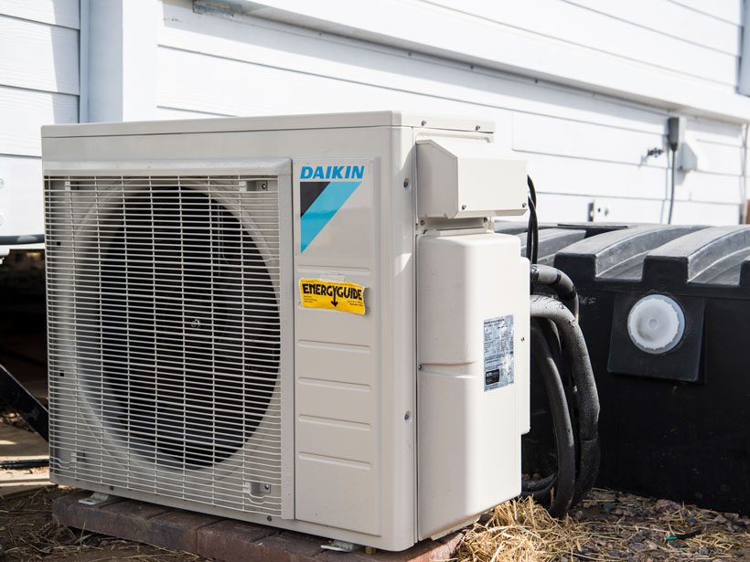 The outdoor component of a residential heat pump