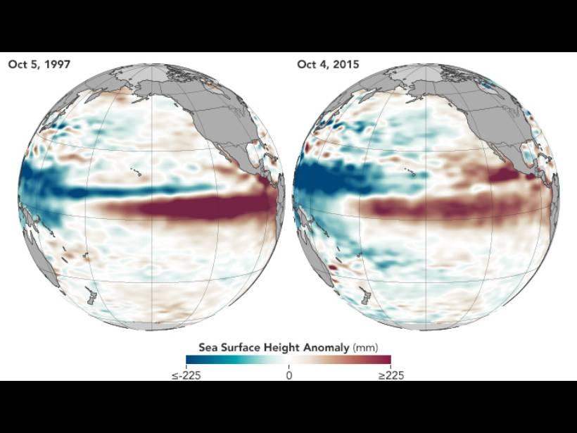 The heat surface of El Niño in 2015 looks like El Niño in 1997.