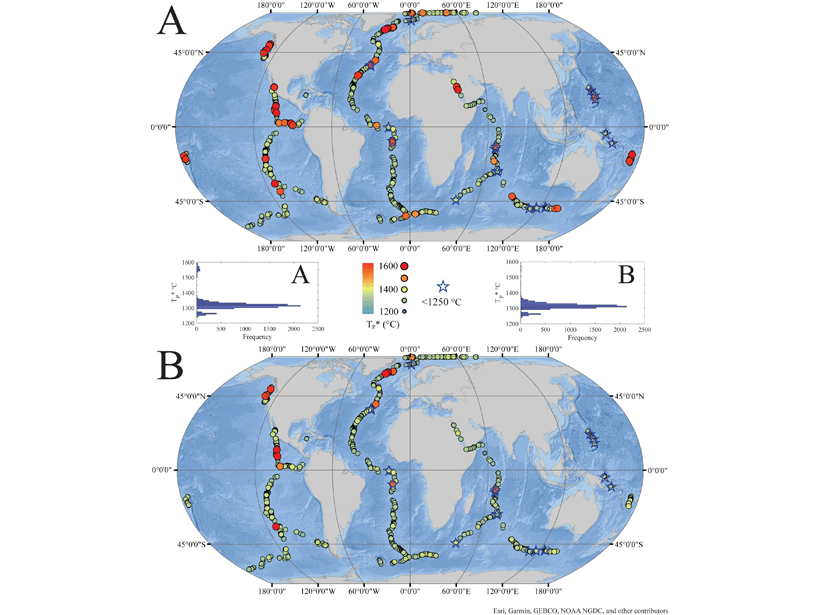 Two world maps with colored dots and stars denoting maximum mantle temperatures retrieved by the RevPET algorithm for the basaltic melts from the global submarine mid-ocean ridge system.