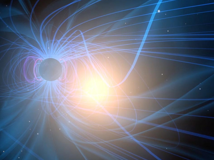 Artist rendering of magnetic reconnection taking place in the Earth's magnetosphere