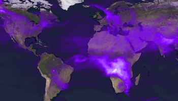 Black carbon particles are spread throughout our atmosphere, produced by the burning of fuels or industrial processes.