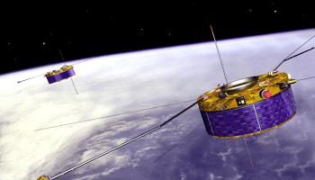 An artist's conception of the Cluster satellites in orbit around Earth
