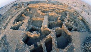 Aerial view of the archaeological dig at Wadi Fidan, Jordan