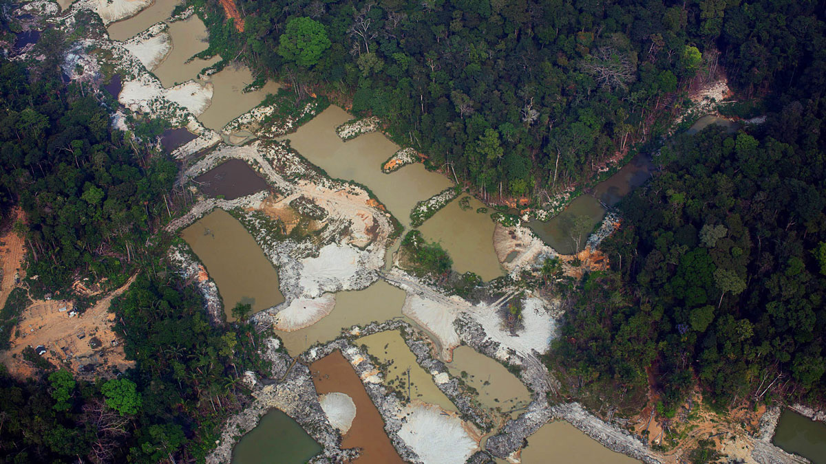 Aerial image of an illegal mining site inside Munduruku Indigenous territory in the state of Pará in Brazil