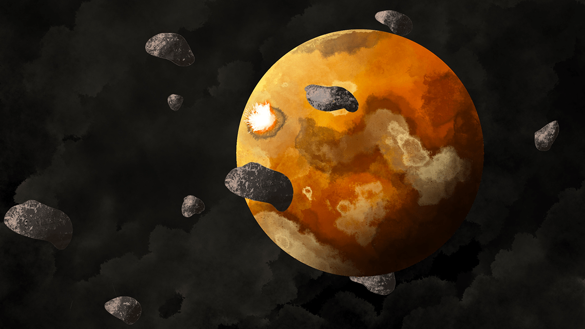 A protoplanet is covered by magma oceans and surrounded by a field of planetesimals.