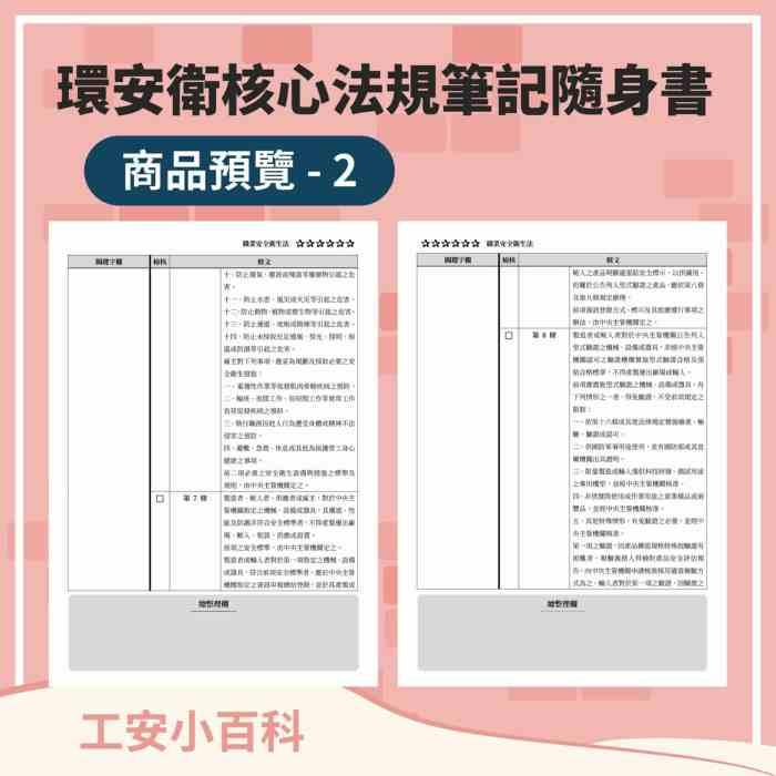環安衛核心法規筆記隨身書:第一冊(商品預覽圖_2)