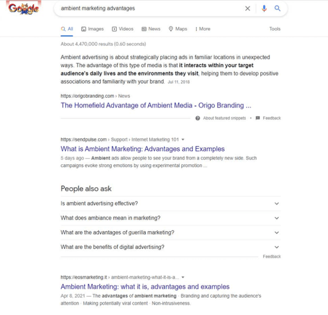"""SERP for the query """"ambient marketing advantages"""""""