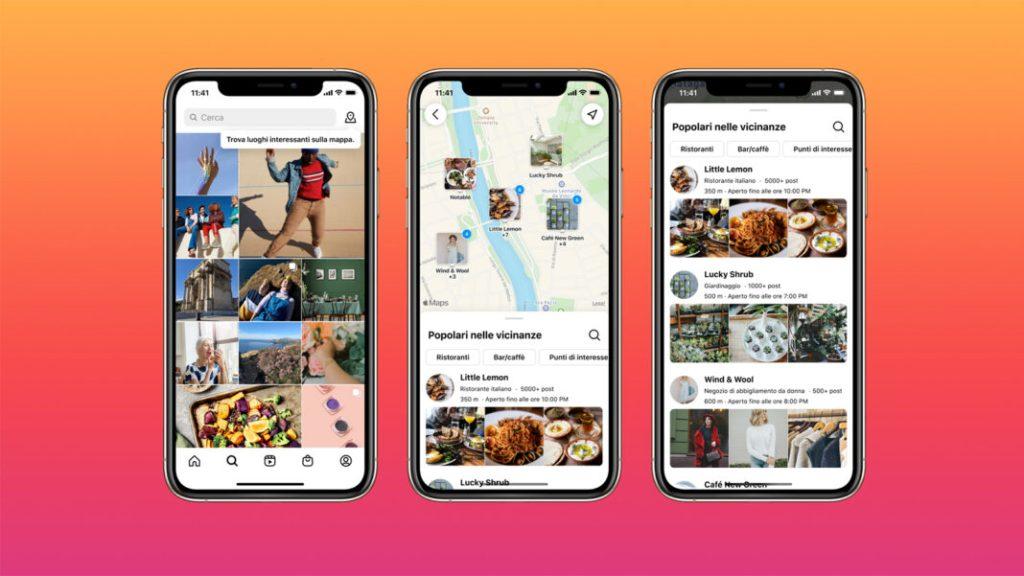 Screenshot della funzionalità di ricerca tramite luogo di Instagram