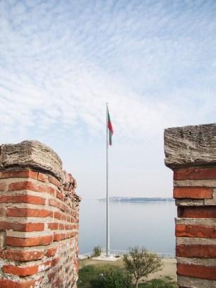 Bulgarian flag over the Danube river