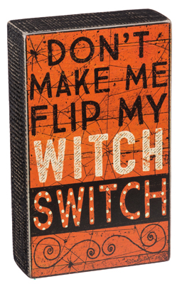 Decorative Box Sign Flip My Witch Switch Box Sign