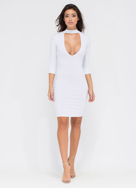 Bust A Move Mockneck Bodycon Dress WHITE