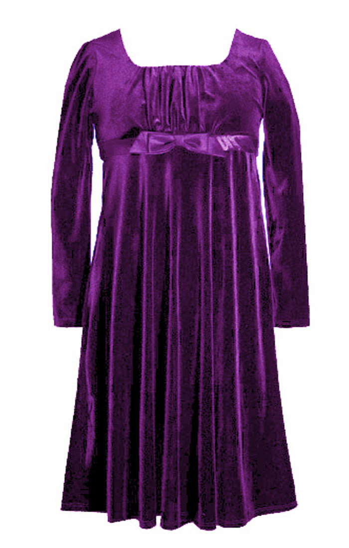 Bonnie Jean Big Girls Holiday Purple Velour Dress
