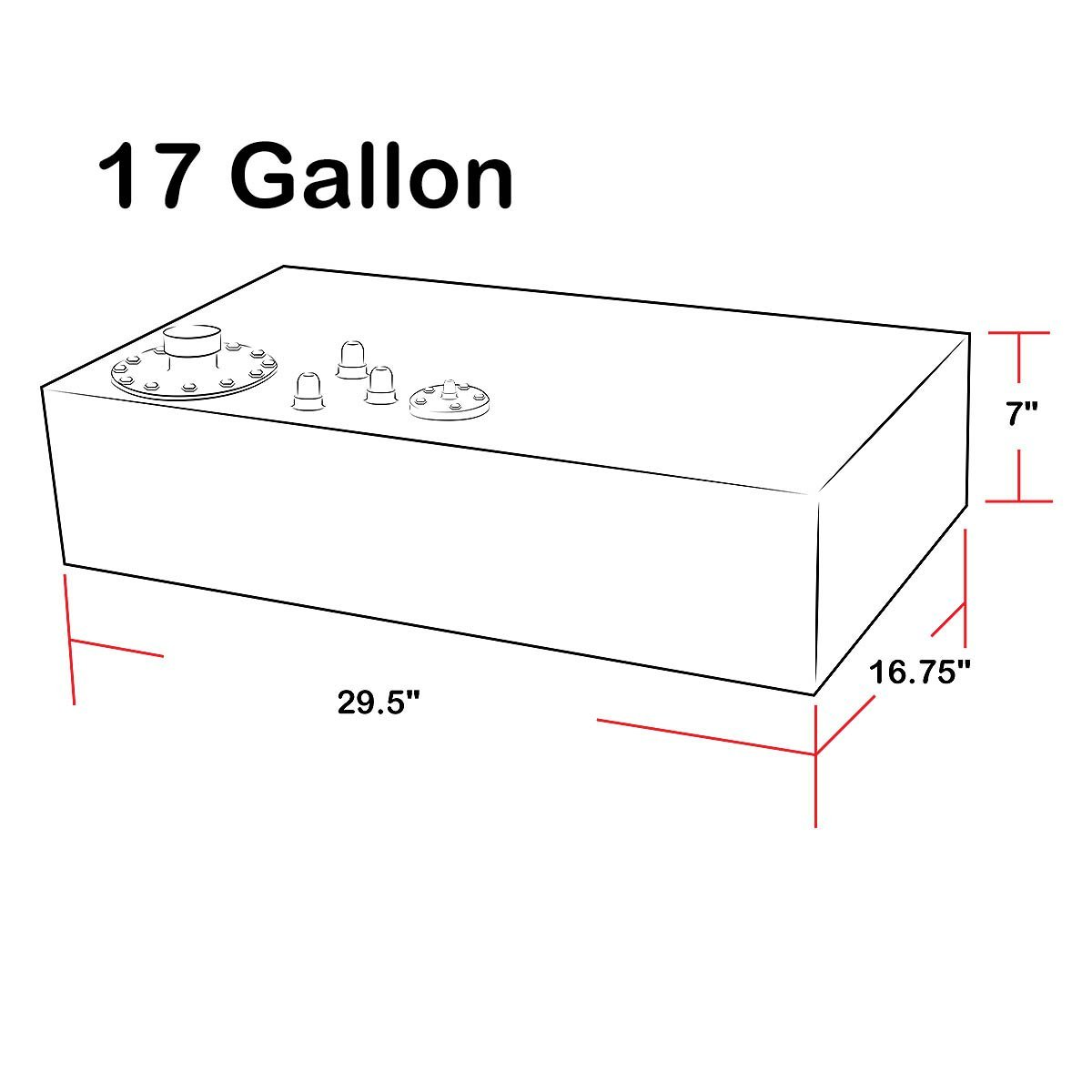17 Gallon 64 Liter Top Feed Aluminum Fuel Cell Gas Tank W