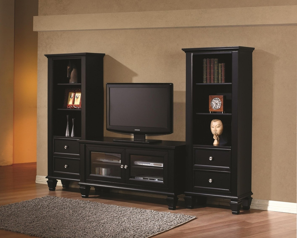 Coaster 702251 Black Wood TV Stand Steal A Sofa