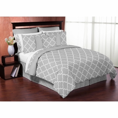 Trellis Gray And White Full Queen Bedding Collection