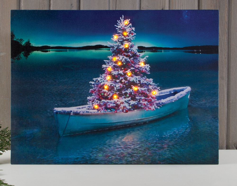 Country Christmas Lighted Canvas Prints