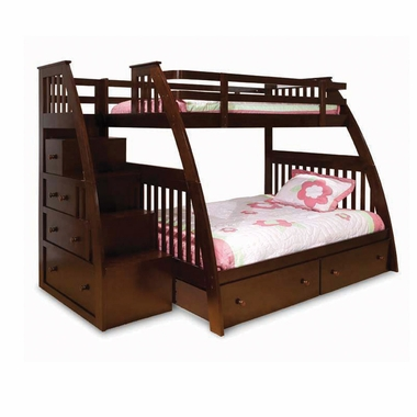 Espresso Twin Over Full Bunk Bed With Stairs Novocom Top