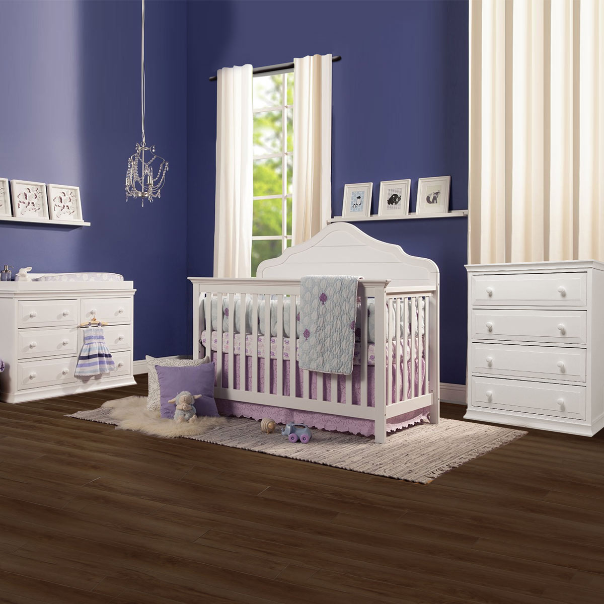 davinci flora 2 piece nursery set 4 in 1 convertible crib signature 4 drawer tall dresser and 6 drawer double dresser in white free shipping