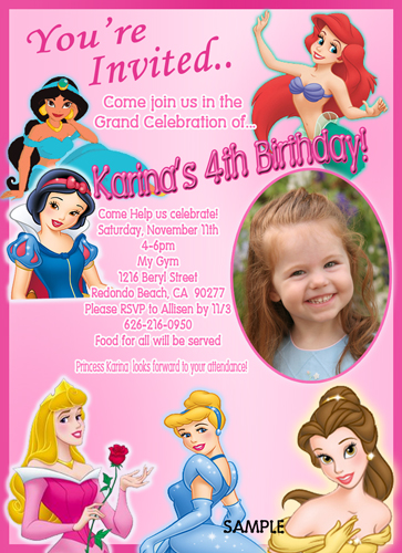 Personalized disney princess birthday invitations eczalinf personalized disney princess birthday invitations stopboris Images