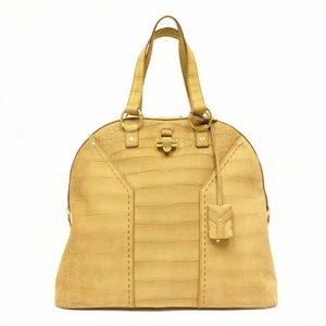 Yves Saint Laurent YSL Oversized Muse Gold Croc Tote Bag 257435