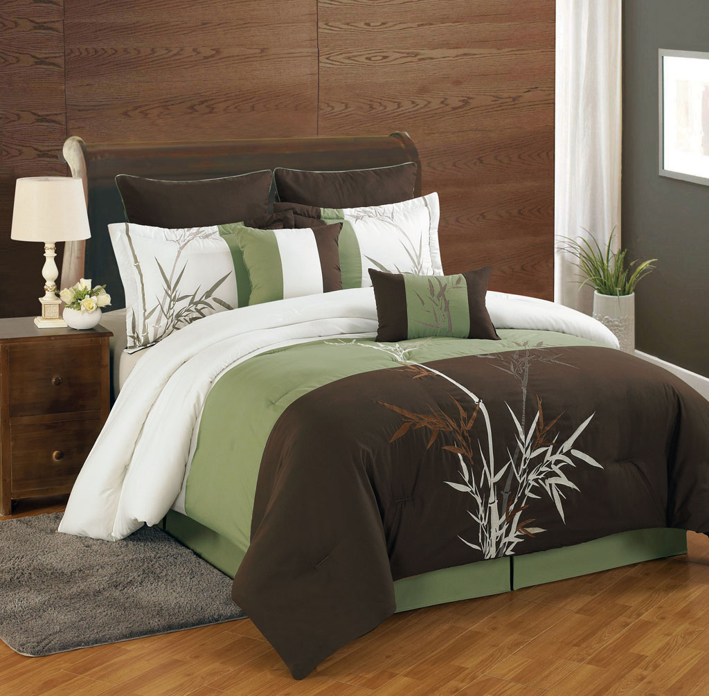 8 Piece Cal King Bamboo Embroidered Comforter Set