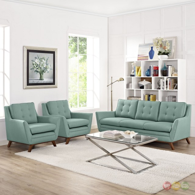 Beguile Contemporary 3pc Button-tufted Fabric Living Room ...