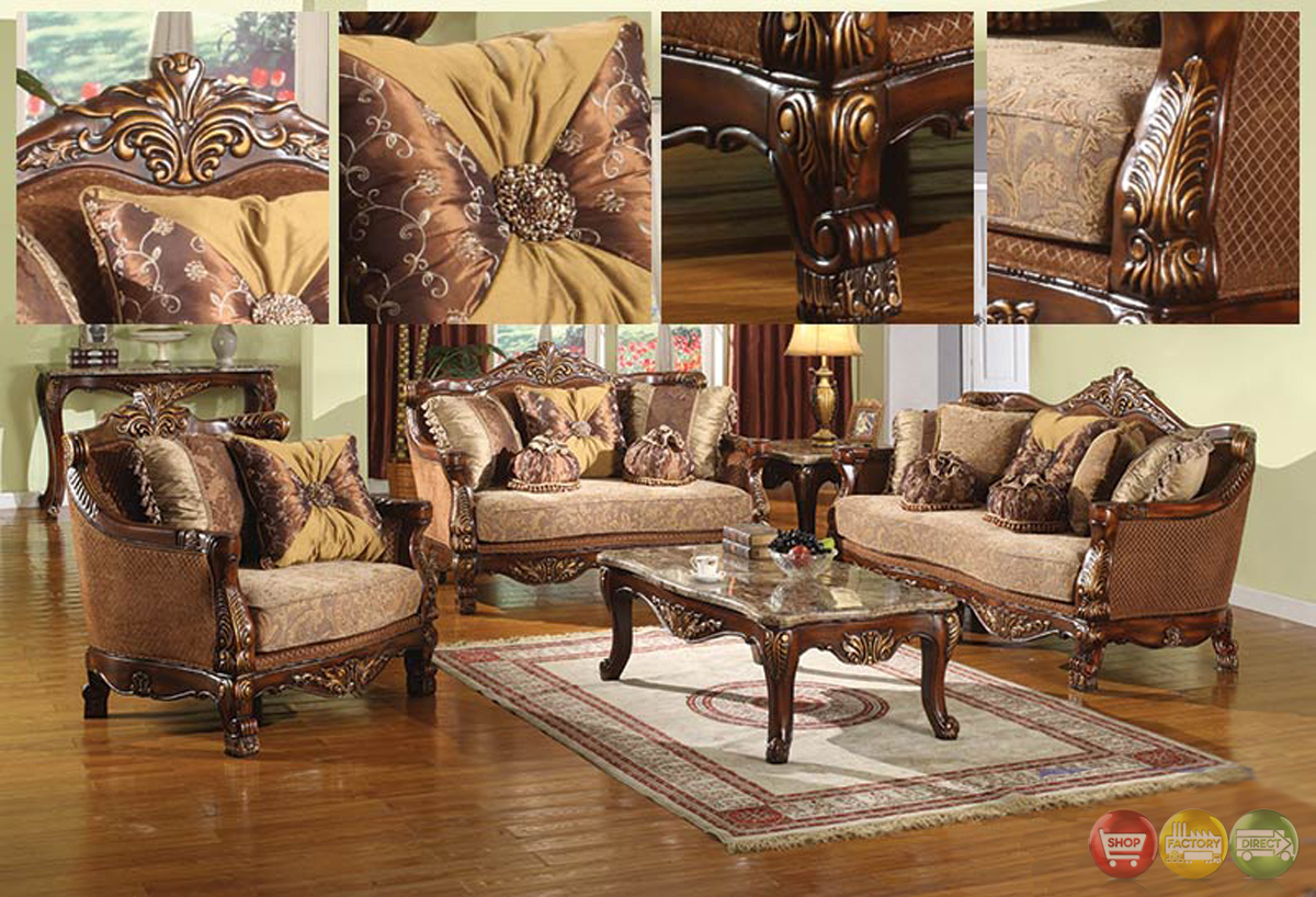Traditional Style Formal Living Room Furniture Brown Sofa