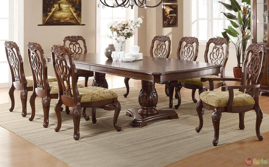 Dining Room Furniture Liam Oval Top Formal Dining Room Set Cherry