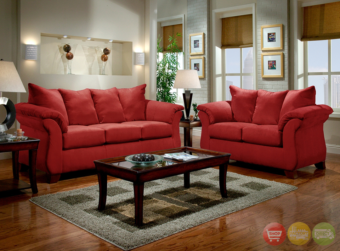 Modern Red Sofa & Loveseat Living Room Furniture Set