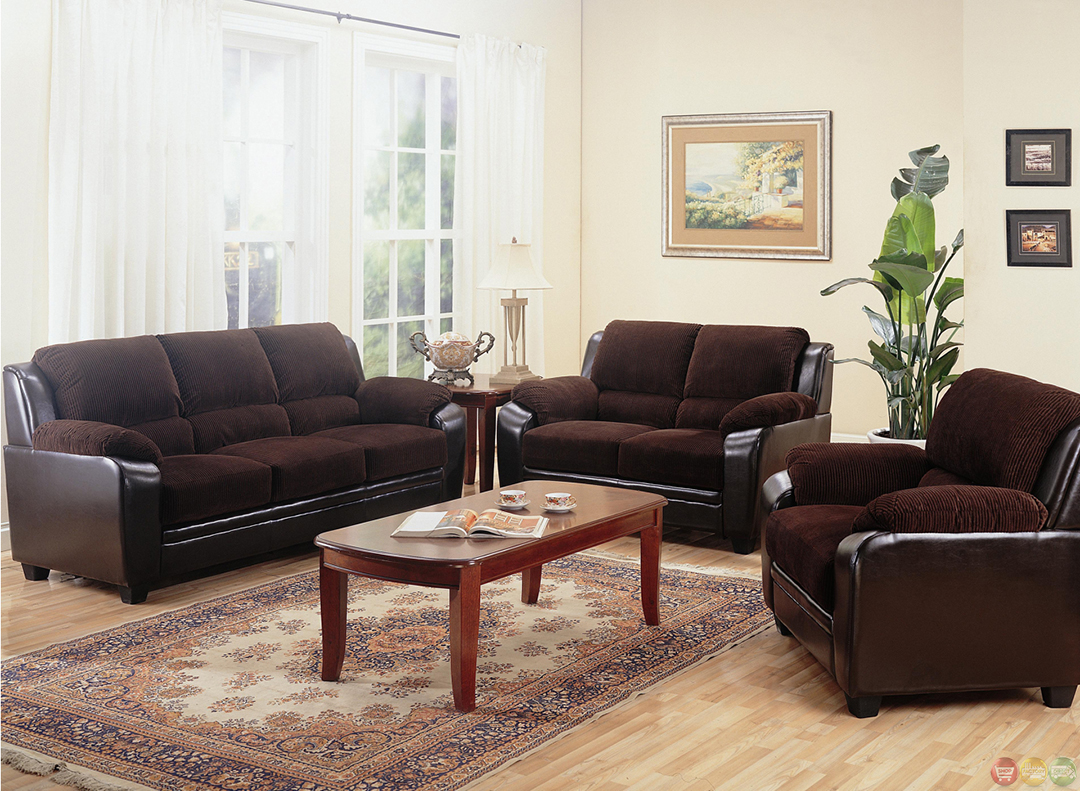 Monika Brown Corduroy Fabric Casual Living Room Furniture Set Sofa Part 93