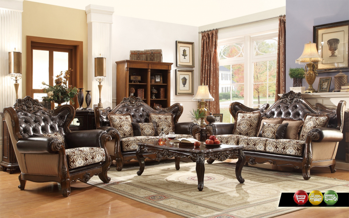 Ornate antique style french provincial traditional brown living room