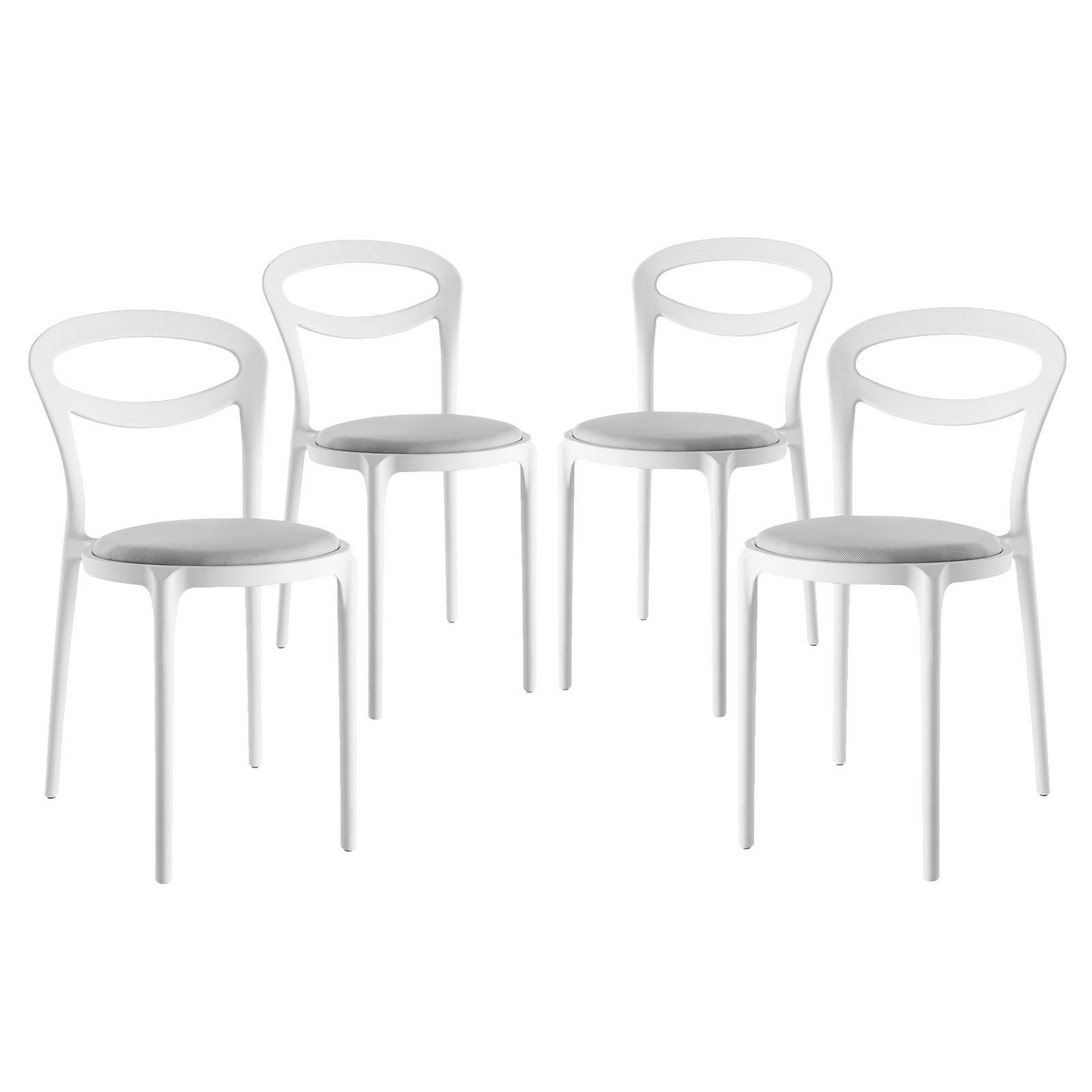 Set Of 4 Assist Modern Molded Plastic Side Chair W Padded