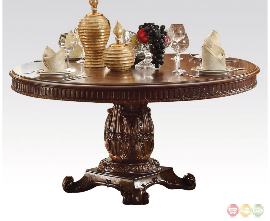 """Vendome Formal Ornate 60"""" Wood Top Round Dining Table In"""