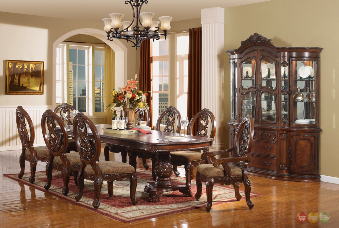 Windham Formal Dining Set Walnut Brown Wood Carved Dining