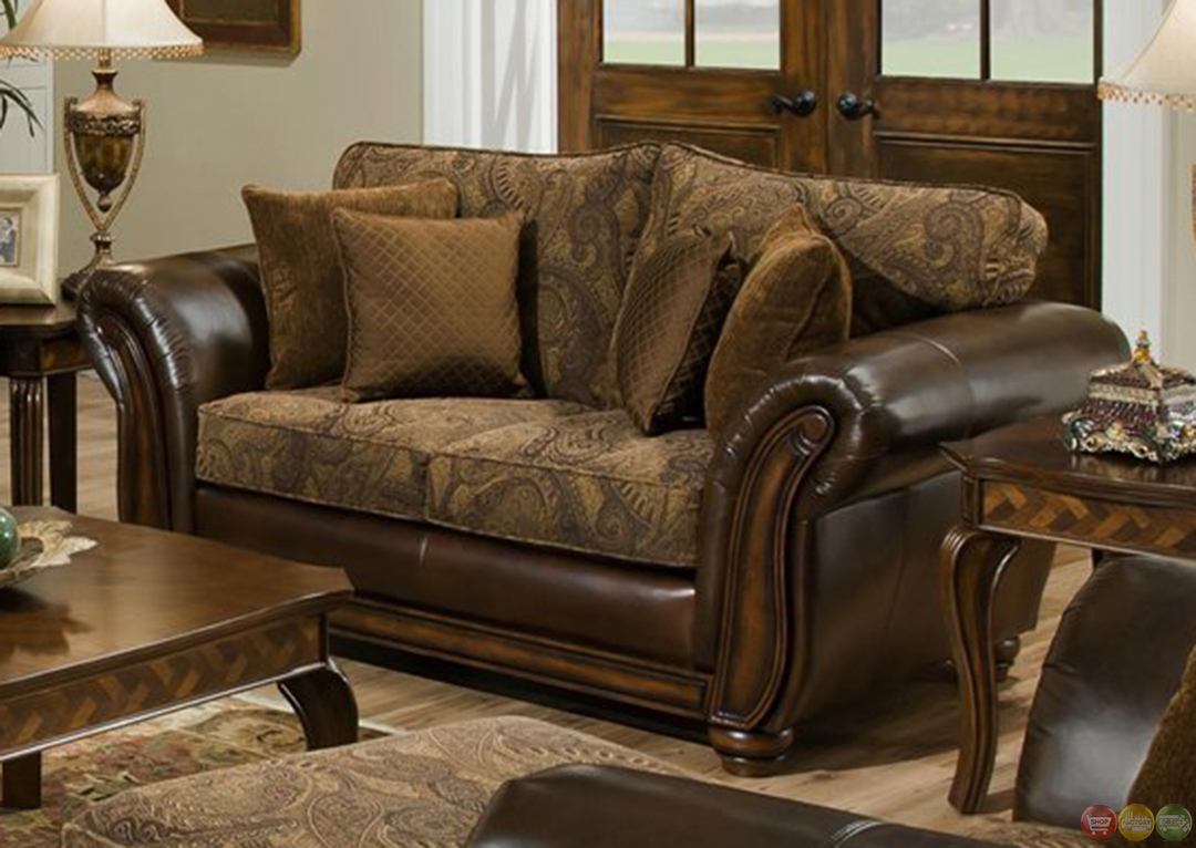 Zephyr Chenille And Leather Living Room Sofa & Loveseat Set