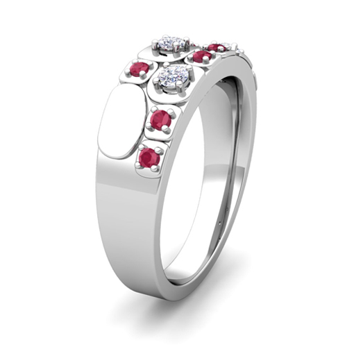 Plaid Diamond And Ruby Mens Wedding Band Ring In 14k Gold