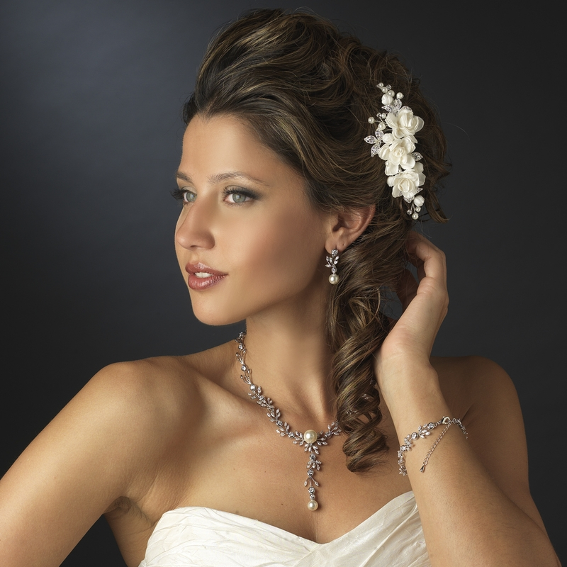 Silver Ivory Floral Flower Hair Accent Pearl Amp Rhinestone