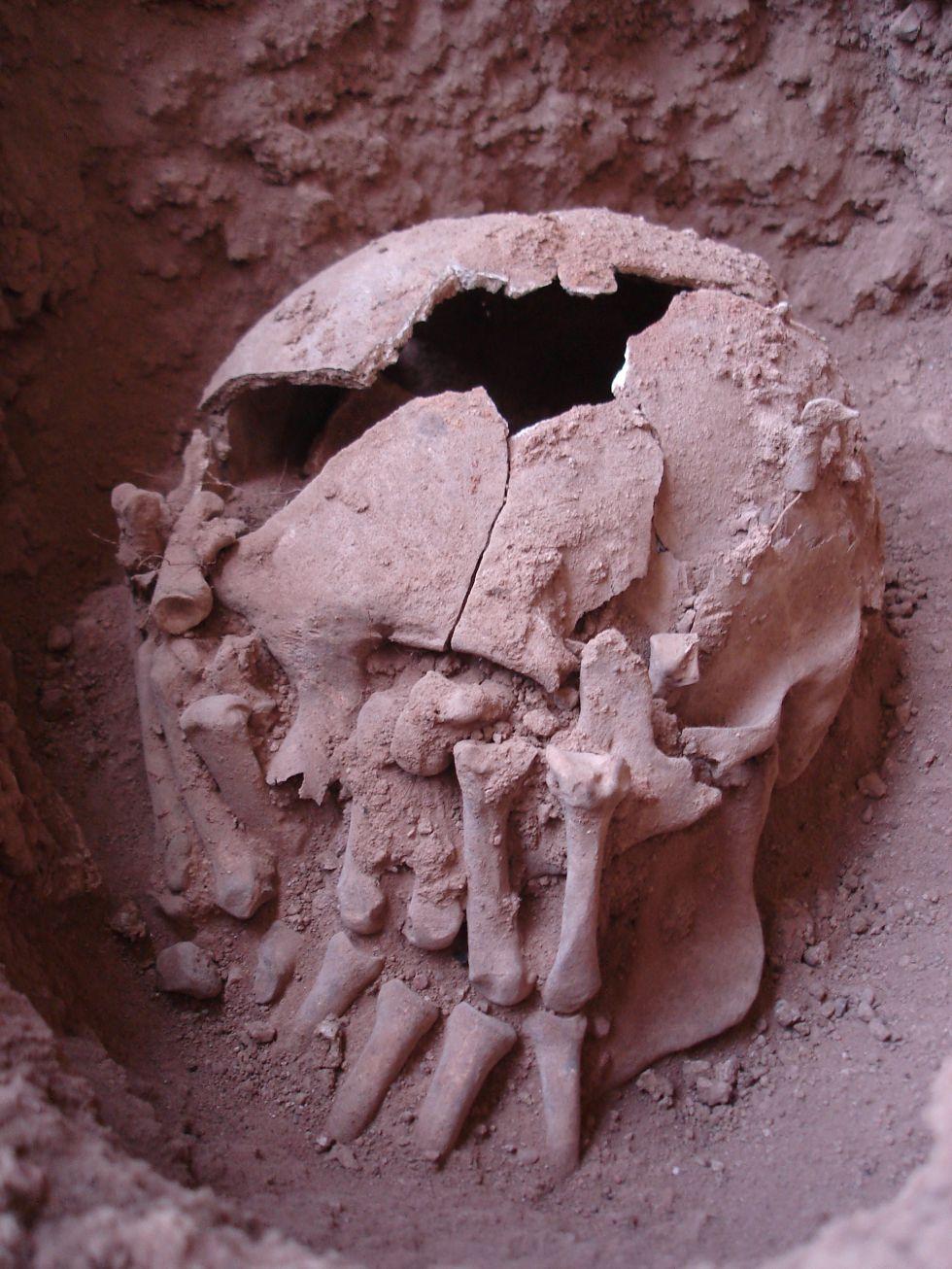 Los restos del decapitado hallados en la cueva de Lapa do Santo